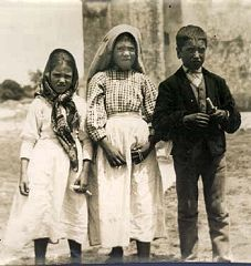 The three children of Fatima, immediately after seeing the vision of Hell.